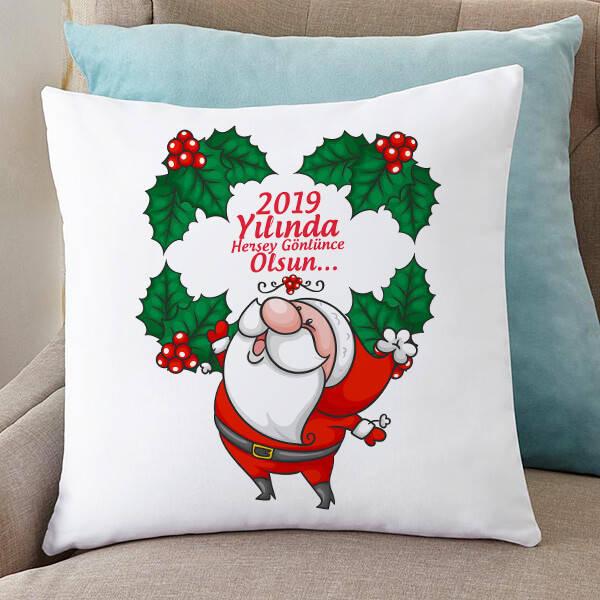 Sevimli Noel Baba Temalı Yılbaşı Yastığı