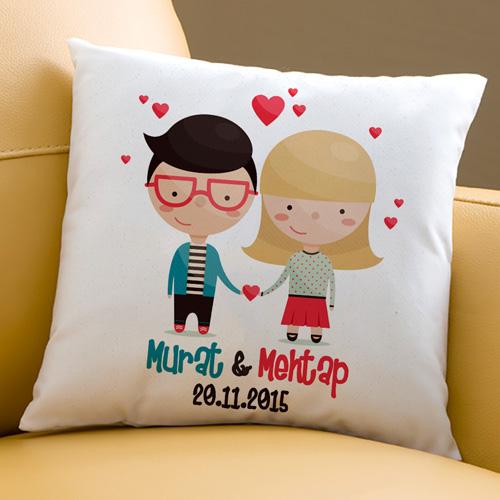 Sevimli Sevgililer Hediyelik Kare Yastık