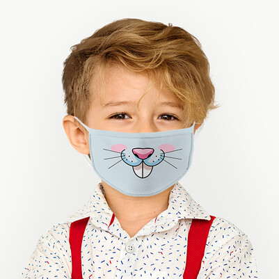 - Sevimli Tavşan Tasarım Çocuk Maskesi