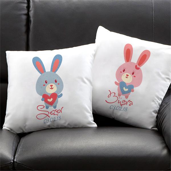 Sevimli Tavşanlar İkili Yastık Seti