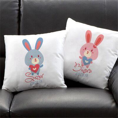 - Sevimli Tavşanlar İkili Yastık Seti