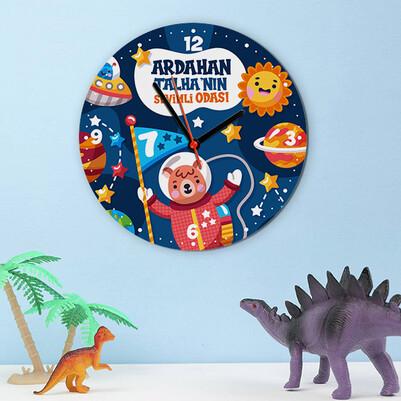 - Sevimli Uzay Figürleri Çocuk Duvar Saati