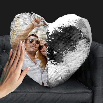 Sihirli Yastık Kalp Tasarımlı Gümüş - Thumbnail