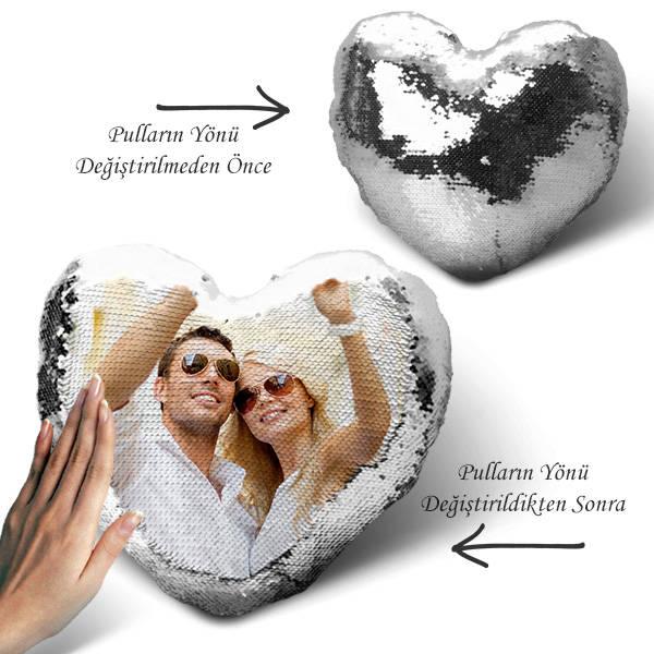 Sihirli Yastık Kalp Tasarımlı Gümüş