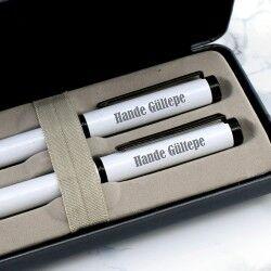 Şık Kutuda İsme Özel 2′li Beyaz Kalem Seti - Thumbnail