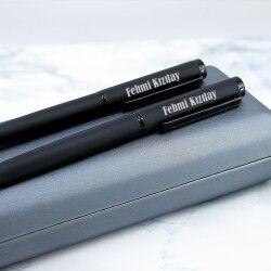 Şık Kutuda İsme Özel 2'li Siyah Kalem Seti - Thumbnail
