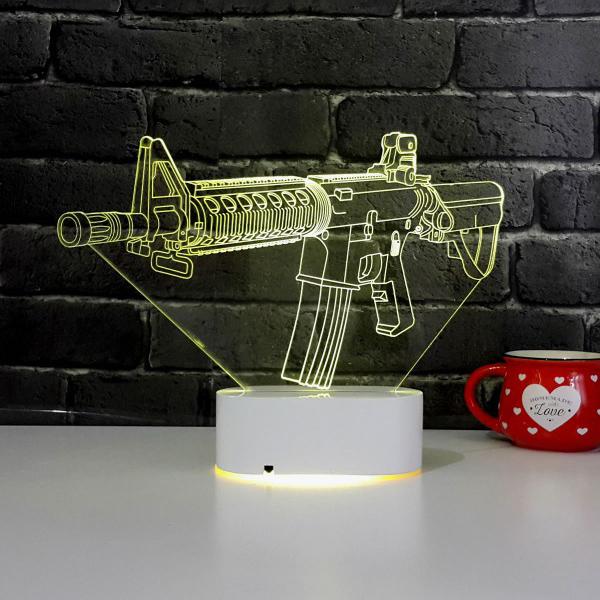 Silah Tasarımlı 3D LED Saat Lamba