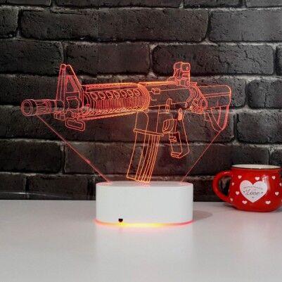 Silah Tasarımlı 3D LED Saat Lamba - Thumbnail
