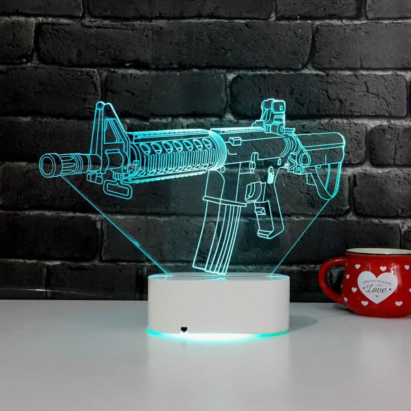 Silah Tasarımlı 3D LED Lamba
