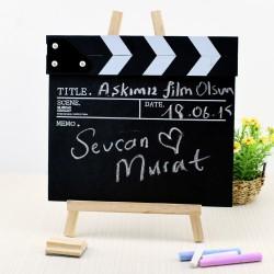 Sinema Klaketi Ahşap Kara Tahta Tebeşirli - Thumbnail