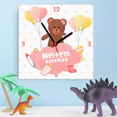 Şirin Ayıcık Kız Bebek Duvar Saati - Thumbnail