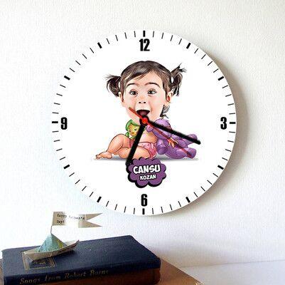 - Şirin Kız Bebek Karikatürlü Duvar Saati