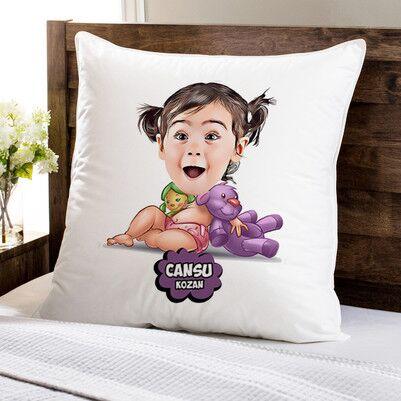 - Şirin Kız Bebek Karikatürlü Yastık