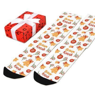 Şirin Yılbaşı Desenleri İsimli Çorap - Thumbnail