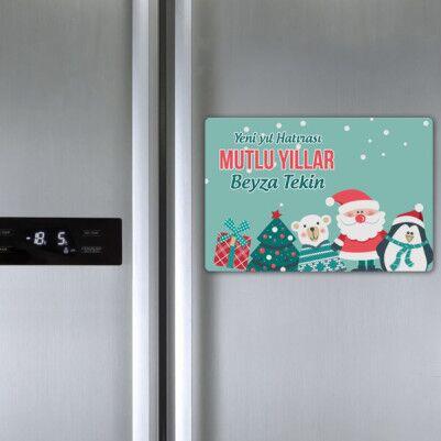 Şirin Yılbaşı Temalı Buzdolabı Magneti - Thumbnail