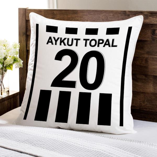 Siyah Beyaz Çubuklu Forma Yastık