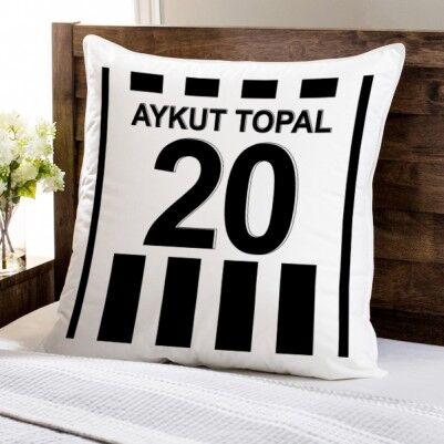 - Siyah Beyaz Çubuklu Forma Yastık