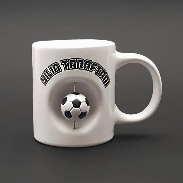 Siyah Beyaz Top İkonlu Kupa Bardak