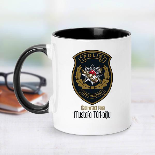 Siyah Kupa Bardak Polis Logolu İsme Özel