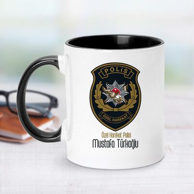 - Siyah Kupa Bardak Polis Logolu İsme Özel