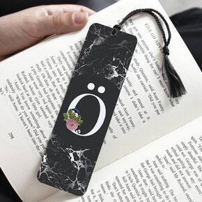 - Siyah Mermer Tasarımlı Baş Harfli Kitap Ayracı