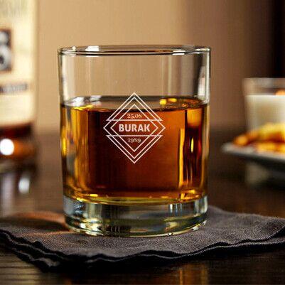 Size Özel İsim ve Tarihli Viski Bardağı - Thumbnail