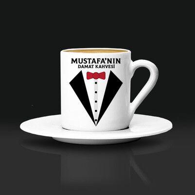 - Smokinli İsme Özel Damat Kahve Fincanı