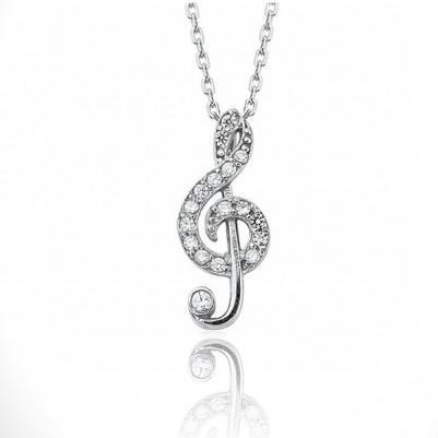 Sol Anahtarı 925 Ayar Gümüş Kolye - Thumbnail