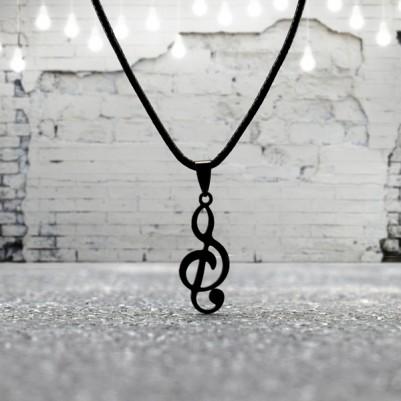Sol Anahtarı Şeklinde Metal Kolye - Thumbnail