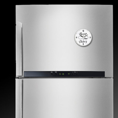 Sonsuz Aşk İsme Özel Saatli Buzdolabı Magneti - Thumbnail