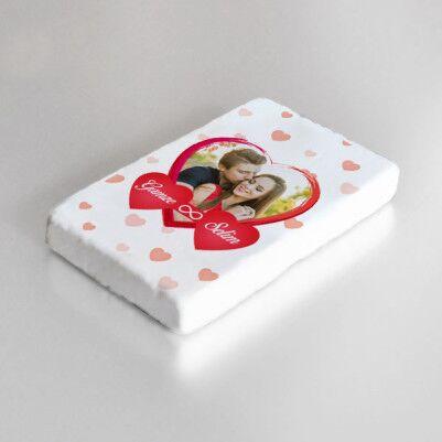 Sonsuz Aşkım Fotoğraflı Taş Buzdolabı Magneti - Thumbnail
