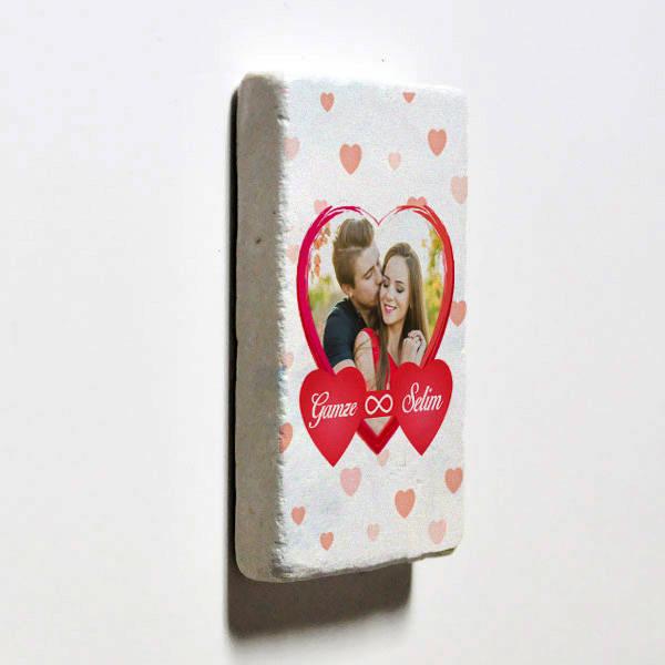 Sonsuz Aşkım Fotoğraflı Taş Buzdolabı Magneti