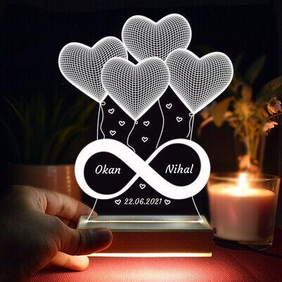 - Sonsuz Aşkımız 3D Led Gece Lambası