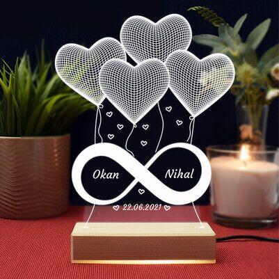 Sonsuz Aşkımız 3D Led Gece Lambası - Thumbnail
