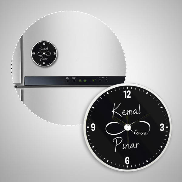 Sonsuz Sevgimiz Saatli Buzdolabı Magneti