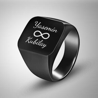 - Sonsuzluk Simgeli İsme Özel Erkek Yüzüğü