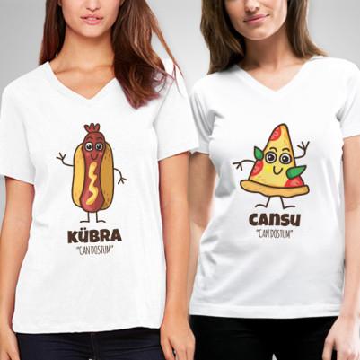 - Sosis ve Pizza İkili Arkadaşlık Tişörtü