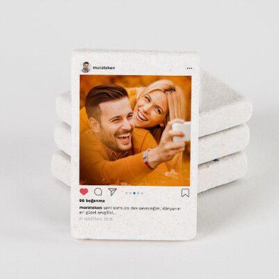 - Sosyal Medya Tasarımlı Taş Buzdolabı Magneti