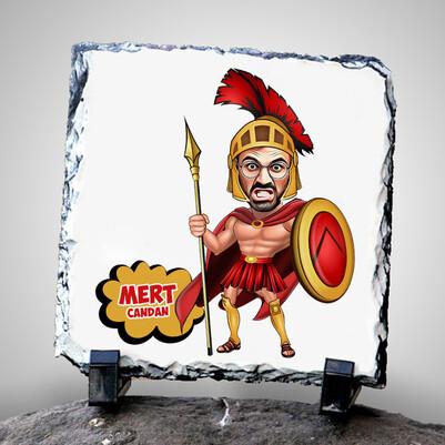 - Spartalı Asker Karikatürlü Taş Baskı