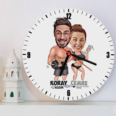 - Sporcu Çiftler Karikatürlü Duvar Saati
