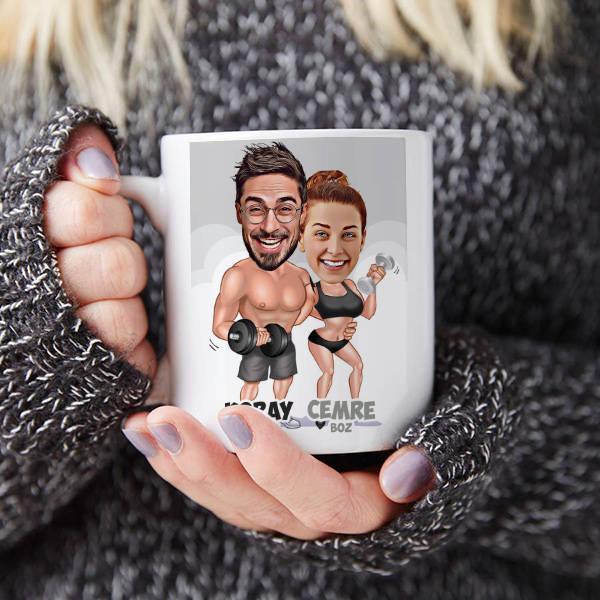 Sporcu Çiftler Karikatürlü Kupa Bardak