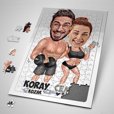 - Sporcu Çiftler Karikatürlü Puzzle
