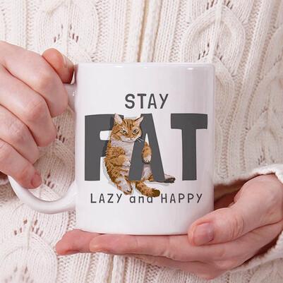 - Stay Fat Cat Tasarım Kupa Bardak