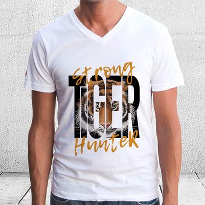 Strong Tiger Hunter Temalı Baskılı Tişört - Thumbnail