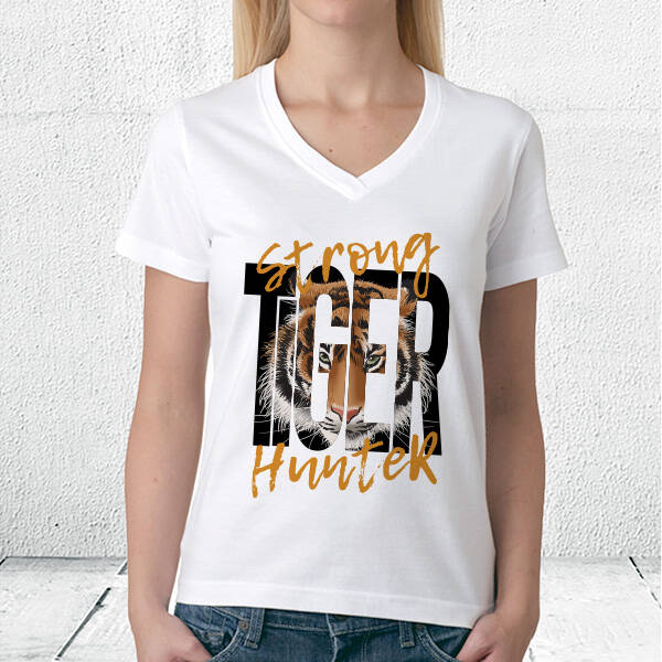 Strong Tiger Hunter Temalı Baskılı Tişört