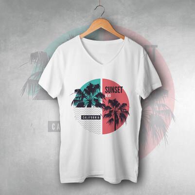 - Sunset California Tasarım Unisex Tişört