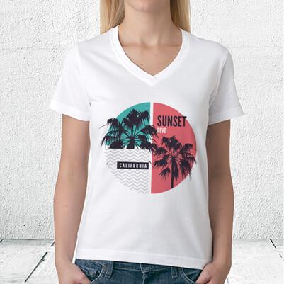 Sunset California Tasarım Unisex Tişört - Thumbnail