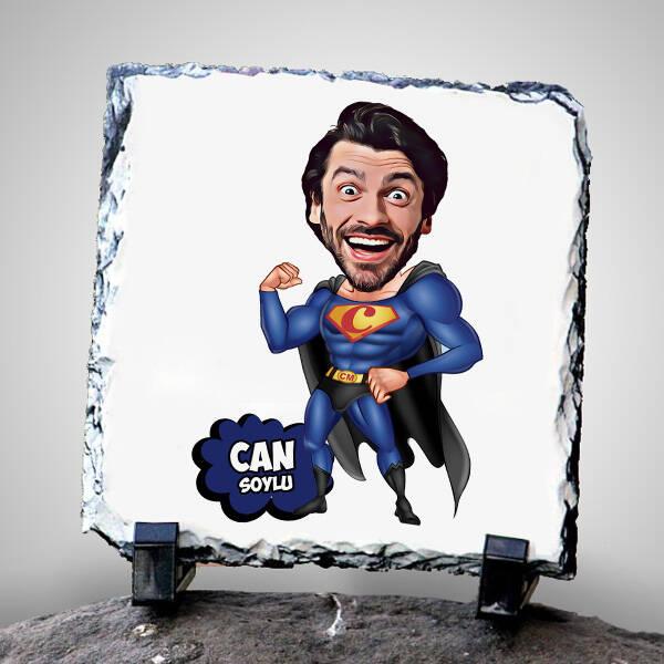 Süper Adam Karikatürlü Taş Baskı
