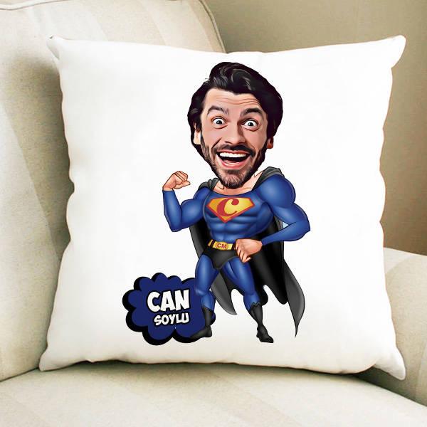 Süper Adam Karikatürlü Yastık