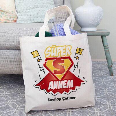 Süper Annem İsimli Bez Çanta - Thumbnail
